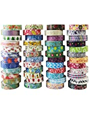 Dekorativt tejp Washi Tape Set 48 Rollen Masking Tape självhäftande dekoband färgglad design för DIY Craft Scrapbooking presentpapper