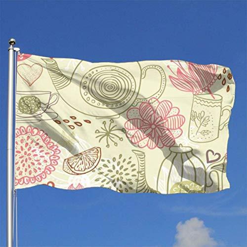 N/A Skizze Wasserkocher Blume langlebig Hof Garten Flaggen saisonale Home Deko für Innen und Außen (12,4 x 18,4 cm)