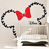 autocollant mural Mickey Mouse Wall Sticker Decal Mickey Mouse Tête Avec Bow Minnie...