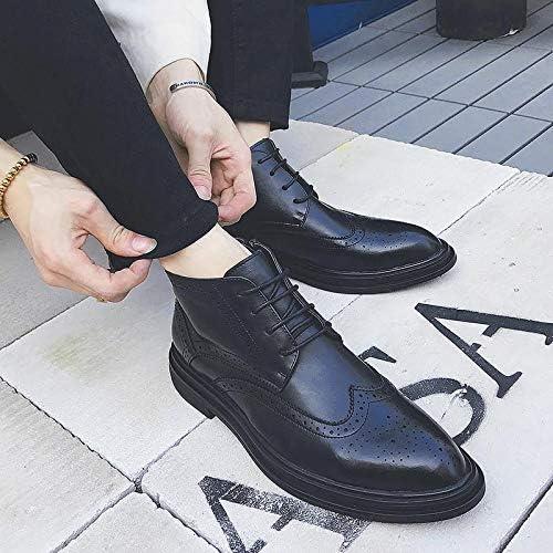 LOVDRAM Zapaños De Cuero para Hombre botas Martin De otoño E Invierno Zapaños Retro Altos para Hombre Zapaños Casuales Tallaños Brock botas botas