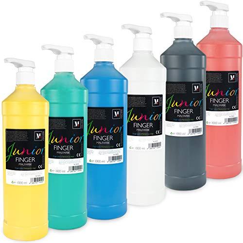 Malverk Junior - Fingerfarben Set für Kinder ungiftig - 6 x 1000ml mit praktischen Dosierpumpen, parabenfrei, glutenfrei, laktosefrei und vegan, mit Pinsel, Schwamm und Fingern vermalbar