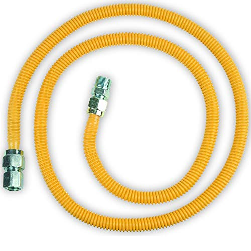 Appliance Pros AP-GASLINE72 Gas Dryer Hose 72', Corrugated Pipe Connector, 1/2' Dryer Vent Hookup, Gas Hose Connector, Gas Dryer Connection, Comes with 1/2' OD 1/2' MIP x 1/2' FIP, Stainless Steel