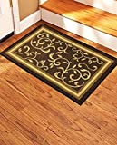 Gloria Landing Mat- Beautiful Floral Design Stair Mats/Treads with Rubber Backing, Brown F...