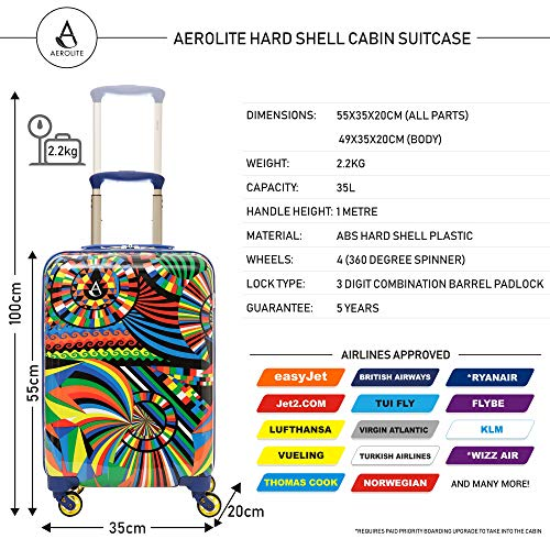 Aerolite Lightweight Polycarbonate Hard Shell 4 Wheel Hand Cabin Luggage Suitcase, Carnival
