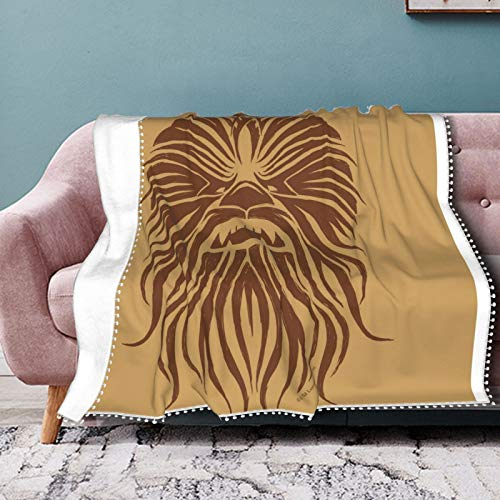 Hustor Chewbacca Manta tribal marrón suave de franela para sofá, cama, sofá, silla, oficina, viajes, camping, manta cálida decorativa moderna de 50 x 60 pulgadas