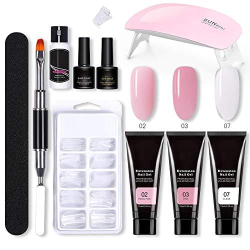 tawohi Kit de gel para las uñas, kit completo de lámpara LED de esmalte de uñas profesional, con gel UV de 3 colores, capa superior y base, Cepillos para manicuras de uñas Kit de inicio DIY en casa
