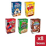 Kellogg's Kids Cereal Fun Variety Pack - Frosted Flakes, Apple Jacks, Froot Loops, Corn Pops, and Cocoa Krispies, 8.56 oz Tray (8 Count)