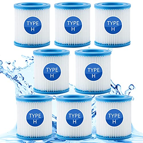 Type H Filter Cartridge, Swimming Pool Easy Set Filter Cartridge Type H for Intex 29007, Pool Filter Pumps H Replacement Filter Cartridge for Intex Krystal Clear Model 601. (8pcs)