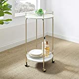 Walker Edison Buchanan Modern Glam Two Tier Rolling Serving Cart, 34 Inch, Marble and Gold