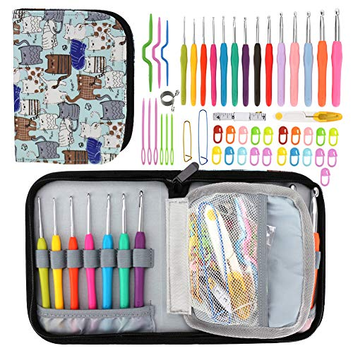 Winkeyes 39 Pcs Ergonomic Crochet Hooks Best Crochet Hook Set with Soft Handles for Extreme Comfort. Perfect Knitting Accessories for Arthritic Hands, Smooth Knitting Needles for Superior Results