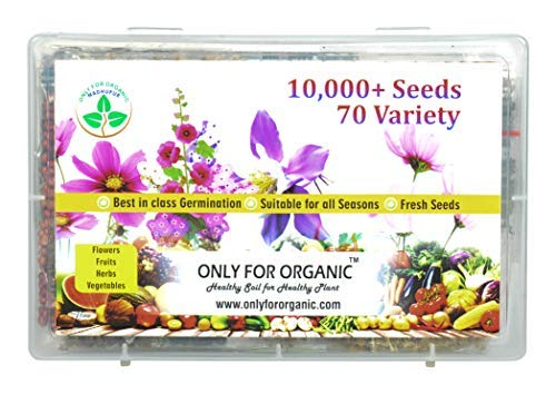 Only For Organic flower, fruit, herbs and vegetable seeds combo (10000+ seeds, 70 variety)