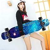 クルージング用スケートボードロングボード42インチ - フリーライドコンプリートスケートボードクルーザー、彫刻、フリースタイル、ダンスボードと女の子のための適切なダウンヒル,Blue starry sky