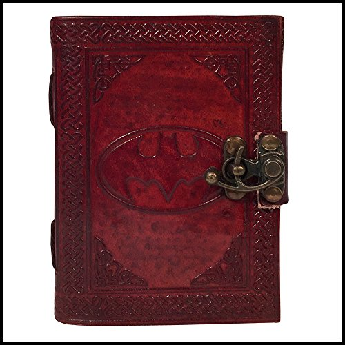 HVC Handmade Leather Journal Celtic Book Batman Sign Embossed Notebook Diary Organizer Planner College Sketchbook 6x4.5 inch for Men Women