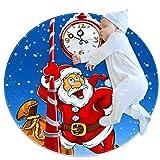Alfombra redonda LORVIES de Santa Claus para debajo del reloj con diseño de Papá Noel con parte trasera antideslizante de espuma para salón, dormitorio, estudio, sala de juegos, alfombra supersuave de 2.3 pies de diámetro, tela, multicolor, 80x80cm/31.5x31.5IN