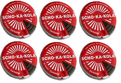 6 x 100 g Scho-Ka-Kola Zartbitter, Energieschokolade, koffeinhaltig
