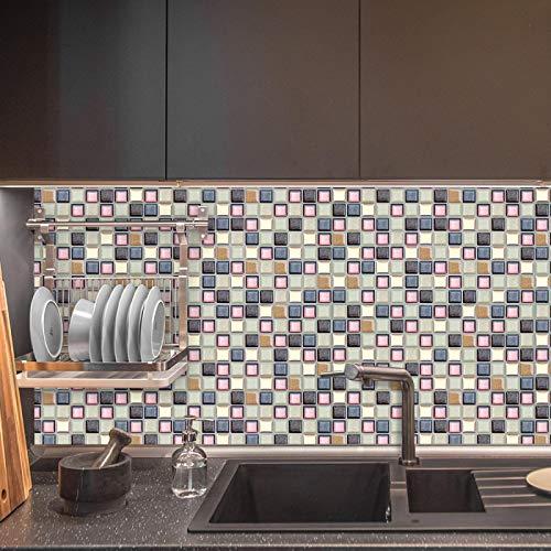 Vinilo adhesivo para pared Fancytiles impermeable autoadhesivo 3D Mosaico adhesivo para pared adhesivo de vinilo para cocina Backsplash MSSB-S51
