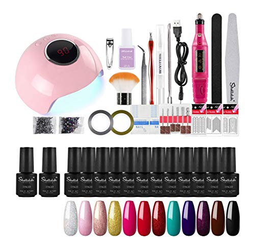 Shelloloh 12pcs Kit de Esmaltes Semipermanentes Esmaltes en Gel Uñas Soak off 7ml Lámpara LED/UV Uñas 24W Secador de Uñas Pulidor Taladro Nail Pulidora Torno Base Coat Top Coat Manicura Pedicura Kit