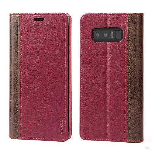 Mulbess Handyhülle für Samsung Galaxy Note 8 Hülle Leder, Samsung Galaxy Note 8 Handy Hüllen, mit BookStyle Flip Handytasche Schutzhülle für Samsung Galaxy Note 8 Case, Wein Rot