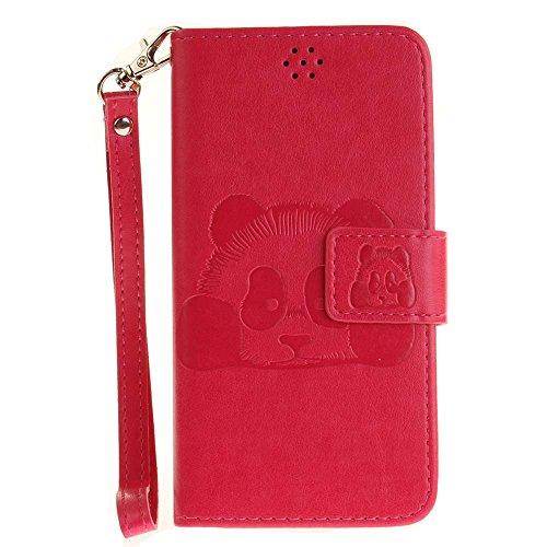 Huawei Y3 II Hülle Huawei Y3 2 Hülle, COOSTOREEU Handyhülle Schutzhülle Tasche mit Panda Muster Kartenfach Standfunktion Magnetlasche für Huawei Y3 II / Huawei Y3 2, Rosen-Rot
