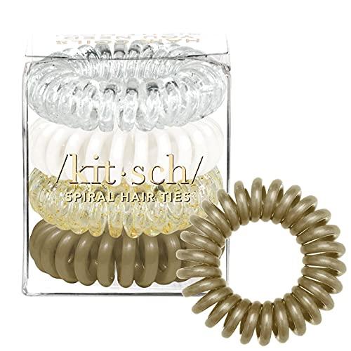 Kitsch Spiral Hair Ties, Coil Hair Ties, Phone Cord Hair Ties, Ponytail Hair Coils No Crease - 4 pcs, Blonde