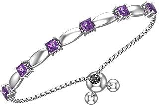 Belinda Jewelz Womens Sterling Silver 6 Sparkling Square Bolo Gemstone Bracelet