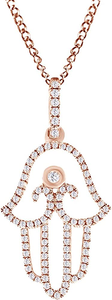 AFFY Round Cut White Natural Diamond Pendant Year-end annual account Necklace Hamsa 1 in Max 64% OFF