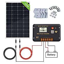 ECO-WORTHY 120W 12V solar panel kit with 20A solar charge controller & 5m solar cable & Z brackets for motorhomes-motorhomes for motorhomes (120W solar panel system)