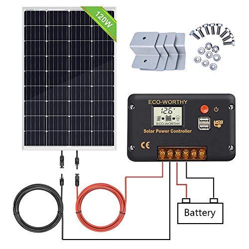 ECO-WORTHY 100W 12V Solarpanel-Kit mit 20A Solarladeregler & 5m Solarkabel & Z-Halterungen für Wohnmobil-Wohnmobile für Wohnmobile (120W Solarpanel-System)