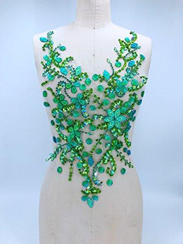 Pure hand gemaakte kristallen patches Naai op strass Applique Knit Trim 50 x 30 cm jurk Accessoire Groen