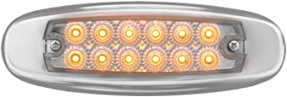 Grand General 78566 Amber Rectangular Spyder 12-LED Marker and Clearance Sealed Light with Clear Lens and Stainless Steel Rim