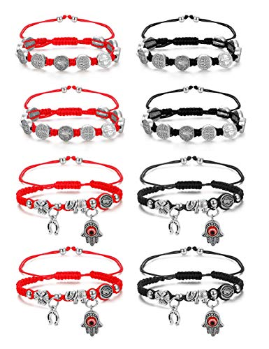 Finrezio 8 PCS Saint Benedict & Evil Eye Cord Bracelets for Women Men Evil Protection Medal Rosary Bracelet Set Lucky Red/Black String Catholic Gifts Religious Jewelry