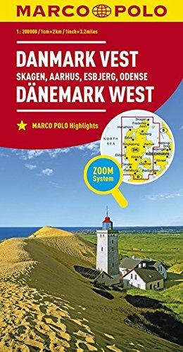 Marco Polo Denemarken West - Skagen, Arhus, Esbjerg, Odense: Wegenkaart 1:200 000