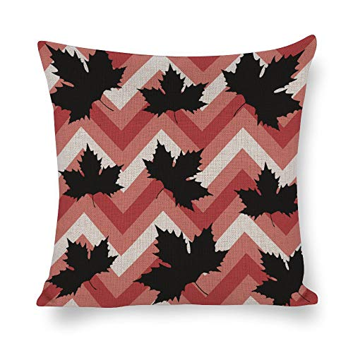 Tiukiu 12 X 12 Inch Cotton Linen Square Throw Pillow Cases Cushion Covers, Bed Sofa Couch Car Home Decor, Maple Leaves Pattern