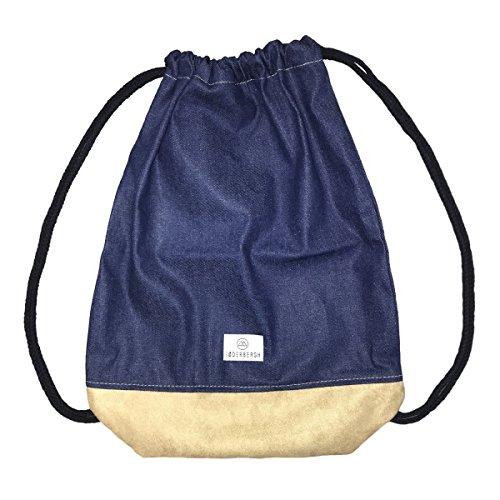 SODERBERGH Jeans Turnbeutel mit Innentasche, Sportbeutel Hipster Gym Bag Rucksack Gymsack für Damen, Herren und Kinder (Denim Blau)