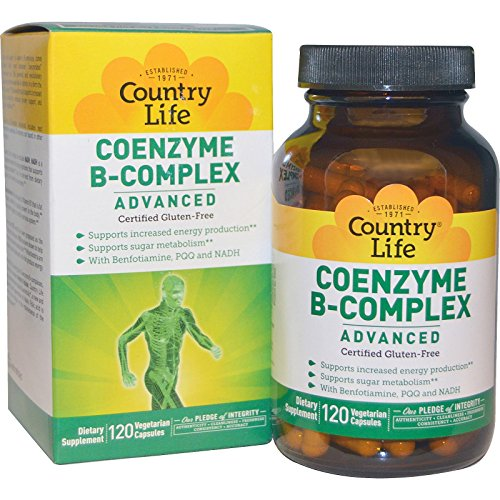 Country Life - Coenzyme B-Complex with Methylfolate, 120 Count, Energy Production & Sugar Metabolism, Gluten-Free Vegan Capsules