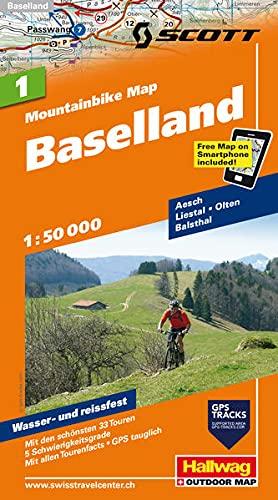 MTB-Karte 01 Baselland 1:50.000: Mountainbike Map: Aesch, Liestal, Olten, Balsthal, Mit den schönsten 33 Touren, 5 Schwierigkeitsgrade, Mit allen ... included (Hallwag Mountainbike-Karten)
