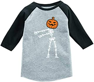 Tstars Floss Dance Pumpkin Halloween Skeleton 3/4 Sleeve Baseball Jersey Toddler Shirt
