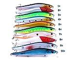 LENPABY 10 señuelos de Pesca de Agua Salada en la Costa Grandes señuelos de Cebo Duro con Tres Ganchos triples,14 cm, 23 g