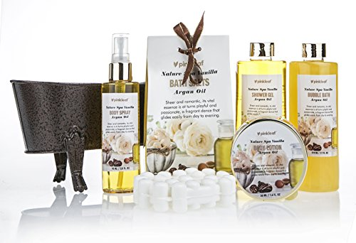 Spa Gift Basket Refreshing Fragrance Enriched with Natural Argan Oil, Perfect Wedding, Birthday or Anniversary Gift, Bath gift Set Includes 8pc Spa Set...