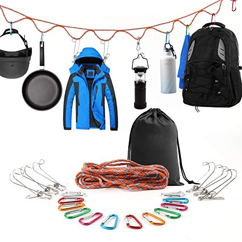 SAMIALOR Campsite Storage Strap with 12 PCS Buckles & 6 PCS Clothes Pins for Hanging Outdoor Camping Gadgets Equipment Outdoor Camping Hammock&Tent RV Accessories Camping Gear Essentials Gifts for Men