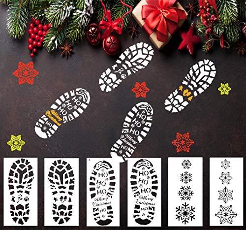 LLGLEU 6 Stück 30x15cm Groß Fußspur Weihnachten Deko Schablonen-Set, Kunststoff Zeichenschablonen Plastik Vorlage Geschenkkarten DIY Kartenbasteln Bullet Journal Wand Dekor