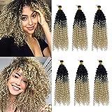 3 Paquete Pelo Sintético Rizado para Trenzas Africanas Extensiones Cabello Se Ve Natural 35cm Afro Curly Water Wave Marlybob Crochet Twist Braiding Hair Negro a Rubio