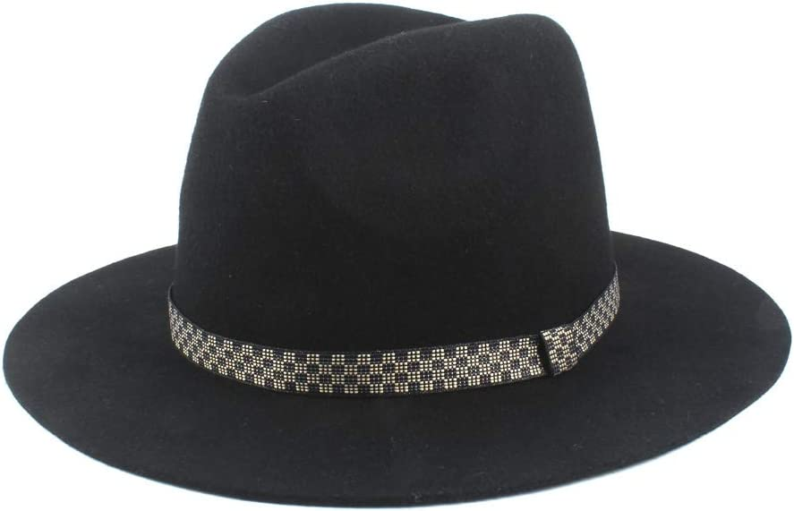 HXGAZXJQ Women's Winter Hat Men's Wool Polyester Fedora Hat Jazz Hat Wide Casual Hat Fashionable Gentleman Hat (Color : Black, Size : 56-58cm)