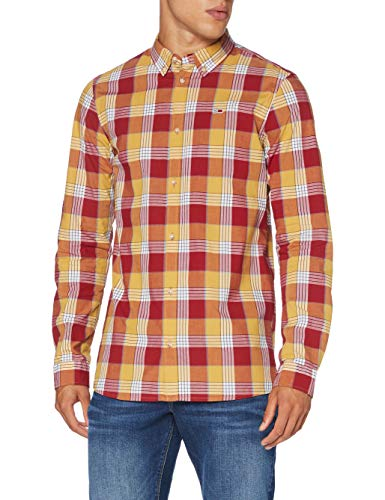 Tommy Herren Tjm Essential Poplin Check Hemd, Rot (Wine Red/Multi), L