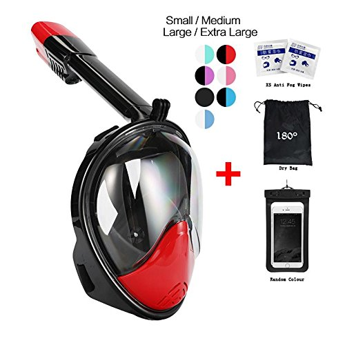 vaporcombo Snorkel Mask 180° view for Adults and Youth. Full Face Free Breathing Folding Design.[Free Bonuses] Cell Phone Universal Waterproof Case (BlackRed, S/M)