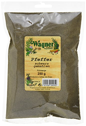 Wagner Gewürze Pfeffer schwarz gemahlen, 1er Pack (1 x 250 g)