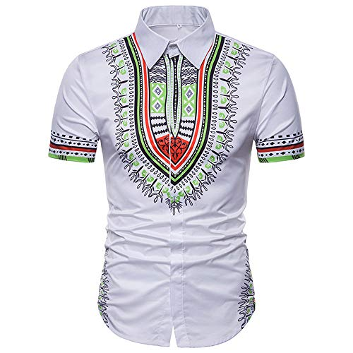 ZZOU Short Sleeve Polo T-Shirt,African Ethnic Style Men Breathable Slim Tee Tops Comfortable Shirt Moisture Wicking T-Shirt Office Golf Tennis Punk Men's Top Tees Clothes Men's Plaid Casual Shirt