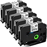 Airmall Compatible Label Tape Replacement for Brother P-Touch Label Maker Tape TZe-231 TZ-231, 12mm 0.47 Inch Black on White TZe TZ Tape, for P Touch PT D210 PT 1090 PT-H100 PTD400AD (5-Pack)