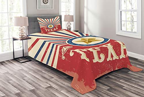 Lunarable Texas Tagesdecke, Texas Vintage Western Cowboy Style Sunburst & Stern mit Grunge Effekten, dekoratives gestepptes 2-teiliges Bettbezug-Set mit Kissenbezug, Twin Size, Marineblau