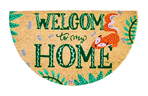 Tapis entree interieur et exterieur, paillasson antiderapant et absorbant, paillassons pour entrée en fibre de coco, tapis original de porte, paillasson demi lune, 40x70 cm (Welcome to my Home)